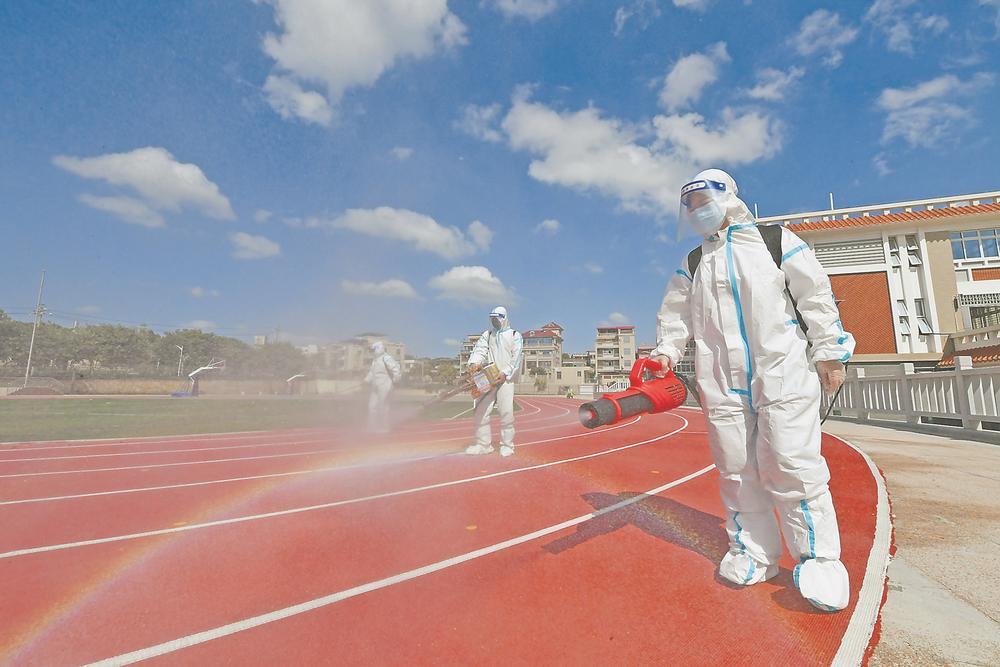 泉州市泉港区各级各类学校积极开展防疫消杀工作 为复学复课做准备